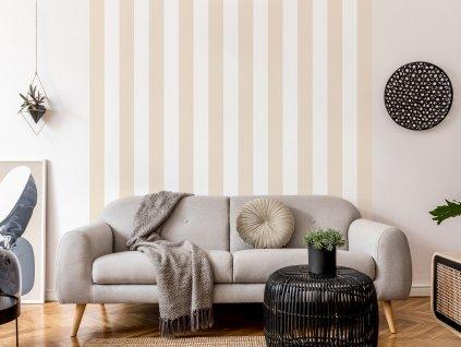 tapeta svisle pruhy na zed bezova interier