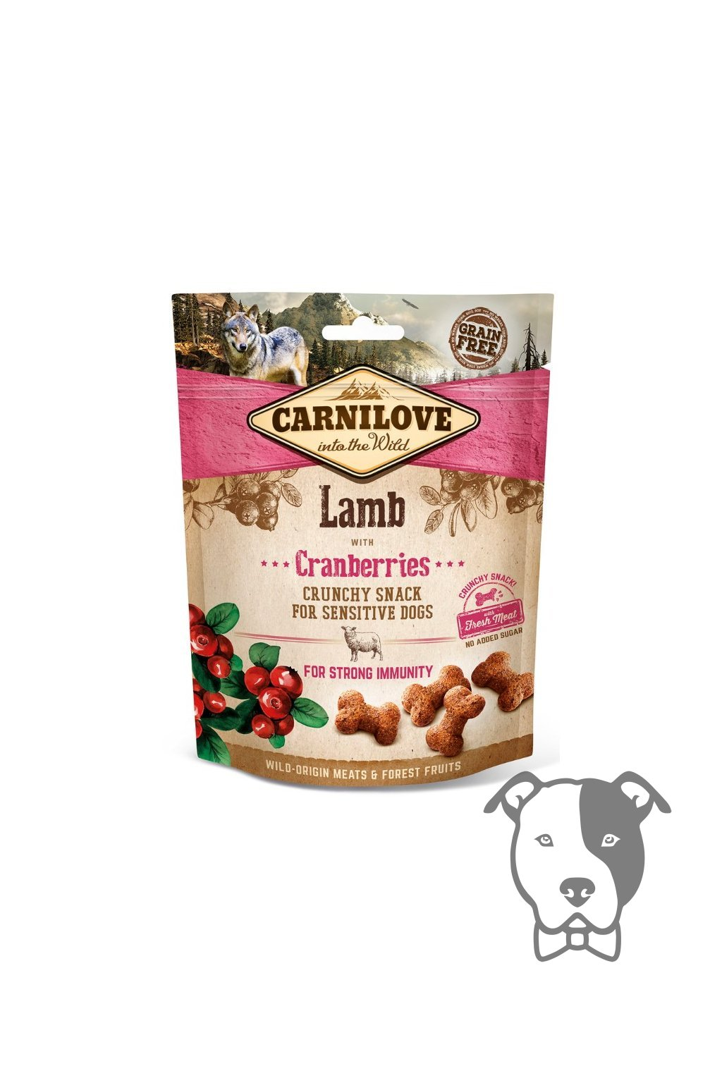 4262 5235 carnilove dog crunchy snack lamb cranberries 200g