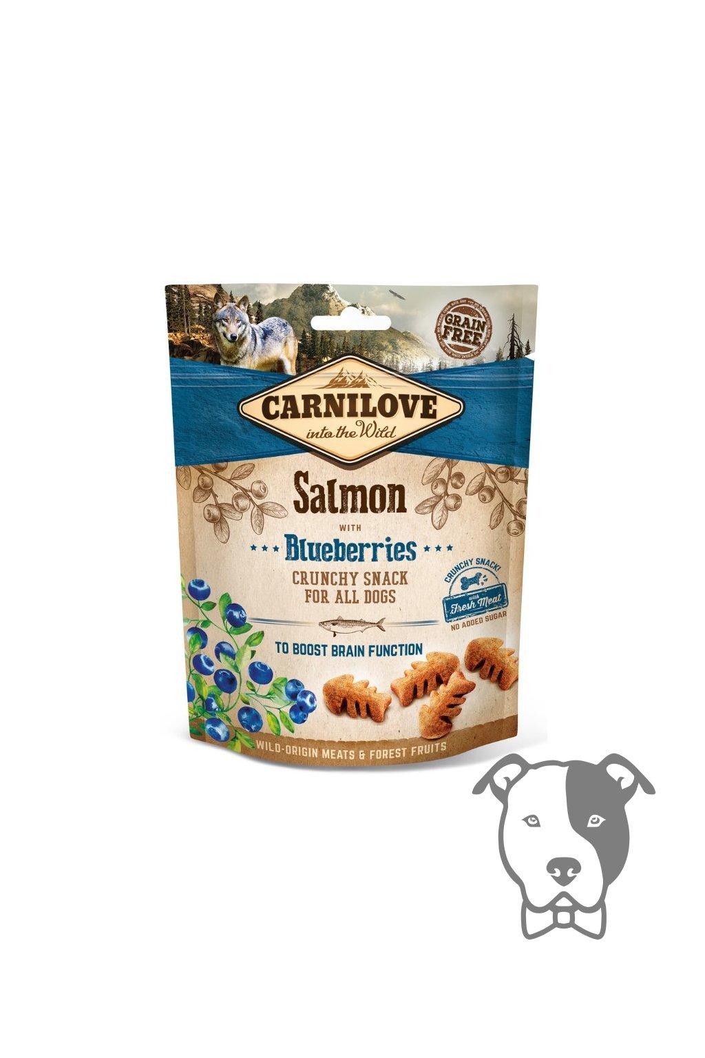 4274 5244 carnilove dog crunchy snack salmon blueberries 200g