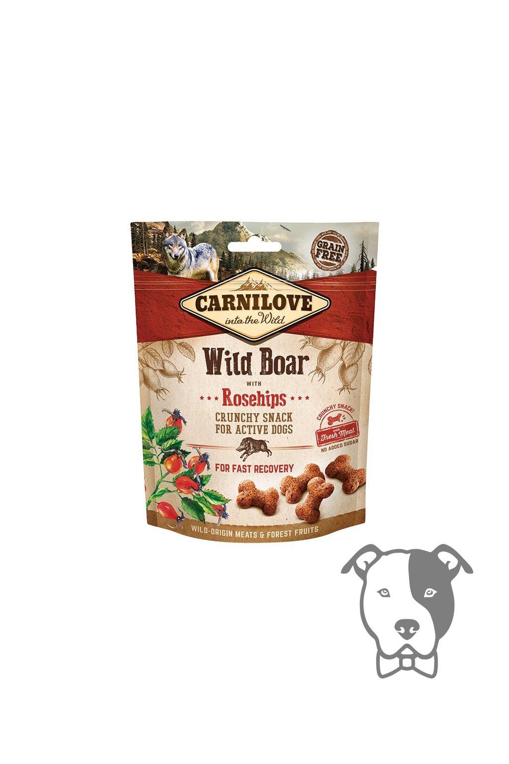 5624 carnilove dog crunchy snack wild boar with rosehips 200g original