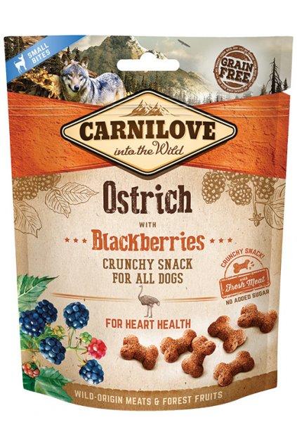 carnilove dog crunchy snack ostrich with blackberries 200g original