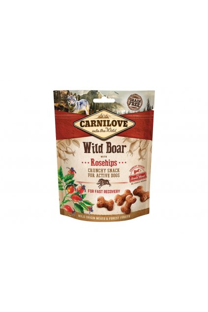 5624 carnilove dog crunchy snack wild boar with rosehips 200g original