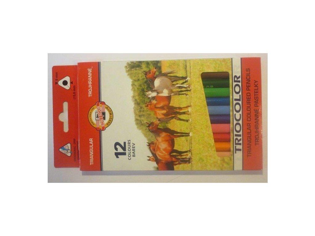 KOH-I-NOOR TRIOCOLOR školní trojhranné pastelky 12 ks v sadě