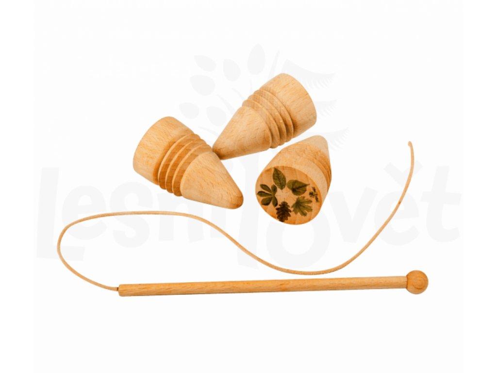 Dřevěná káča s bičíkem mix