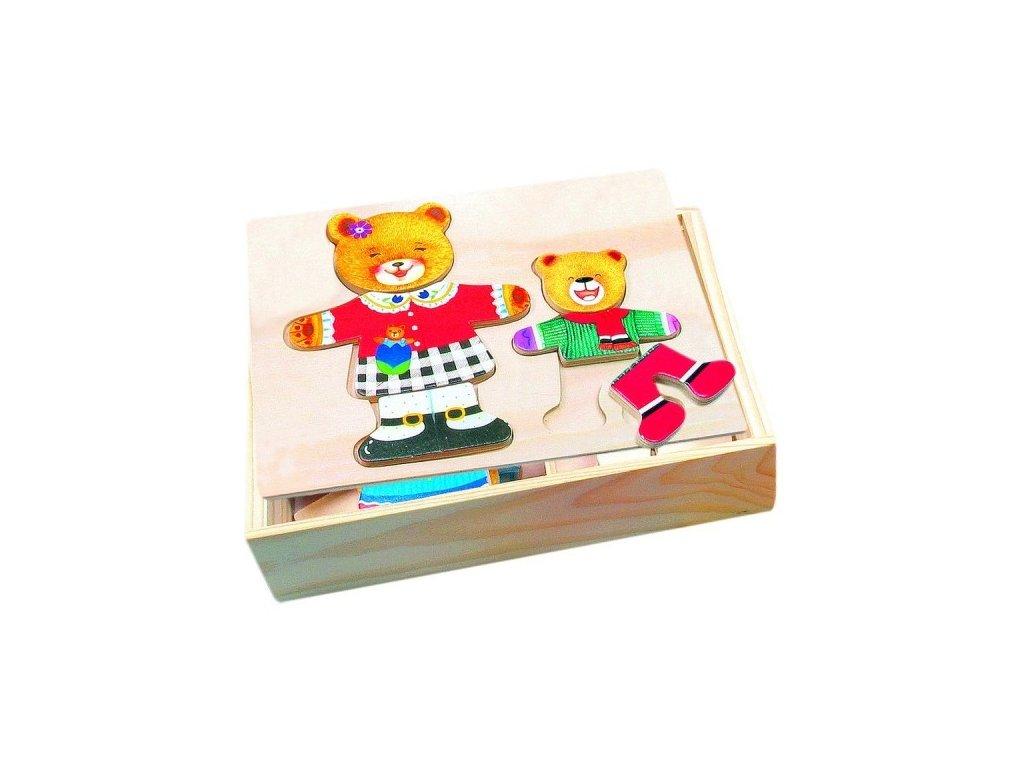 puzzle satnik medvedi drevo barevny v krabici 19x14x4cm 2