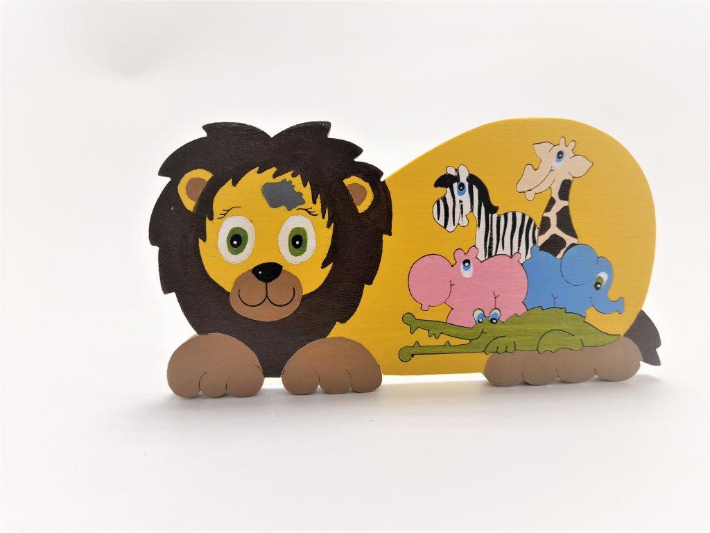 Lvíček Tuláček skládačka dřevěná