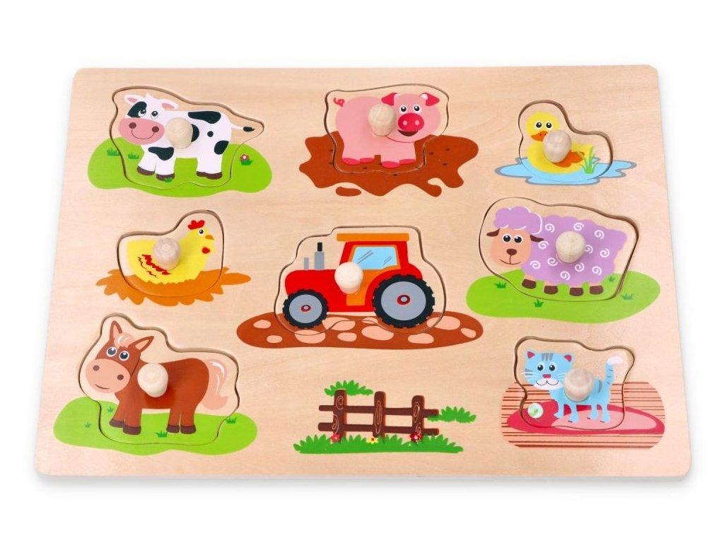 125746 219105 lelin edukacni vkladacka puzzle farma s traktorem