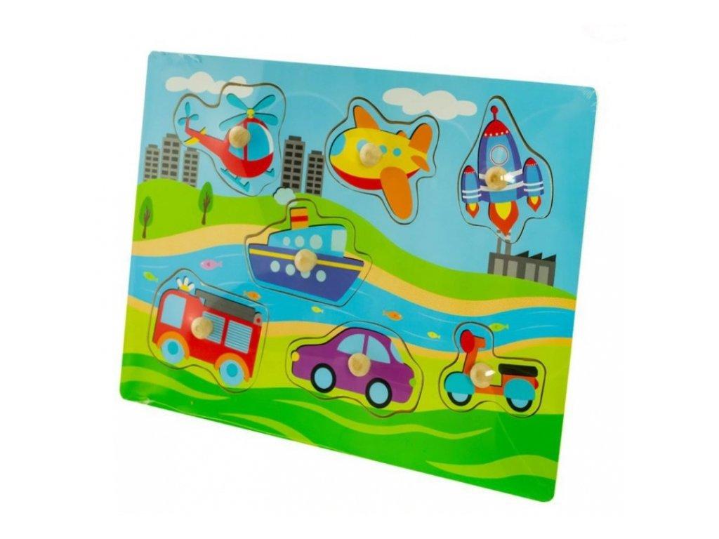 124548 215278 tulimi drevene zabavne puzzle vkladaci dopravni prostredky