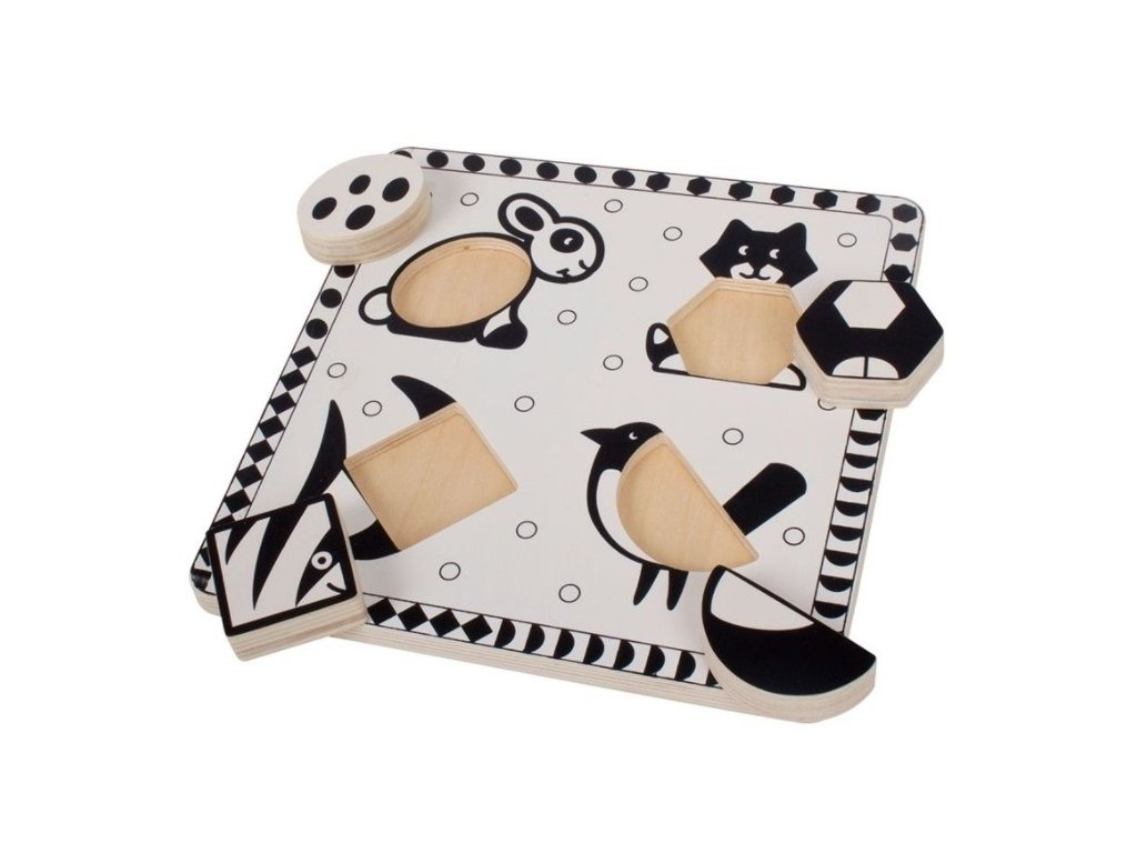 126459 221669 bigjigs toys drevene vkladaci puzzle tvary cernobile