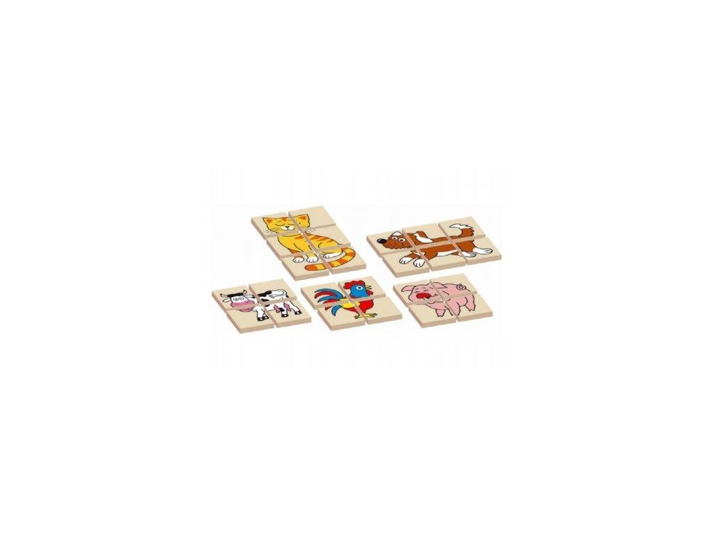 99371 166710 skladanka zviratka drevena oboustranna 12dilku 5 zviratek v krabicce 17x12x1 5cm