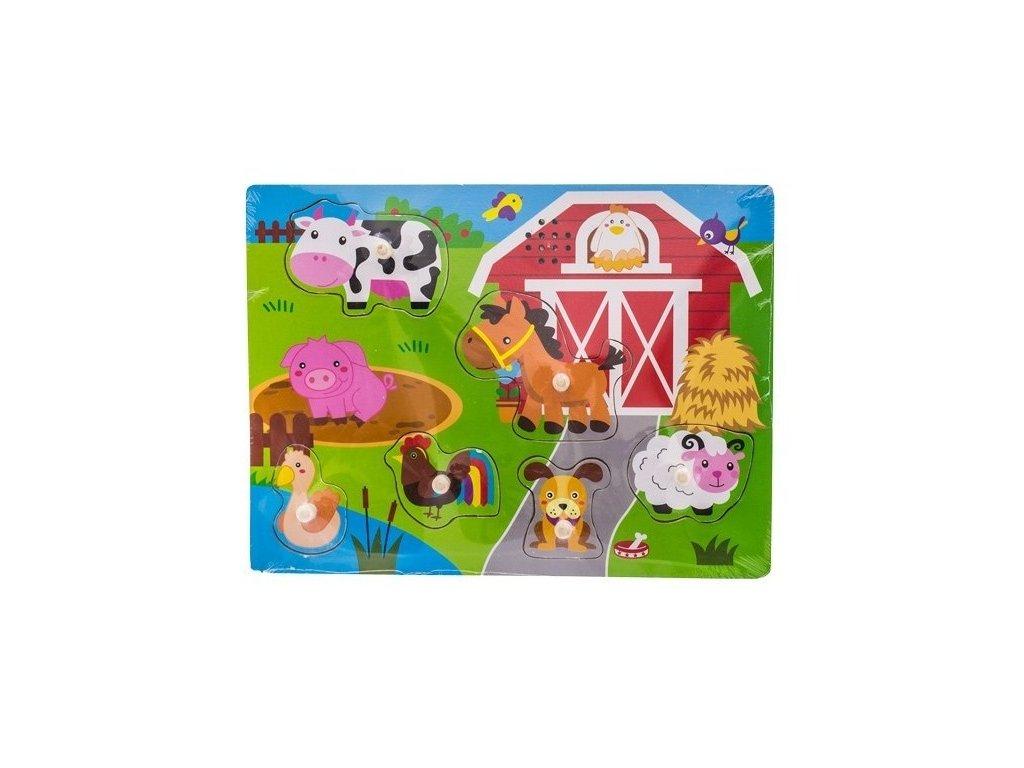 111943 191191 drevene zabavne puzzle vkladaci se zvukem euro baby farma
