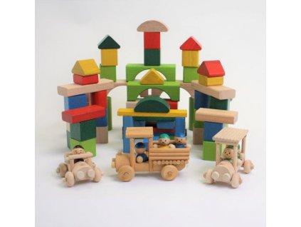 Dřevěné kostky s panáčky a autíčky