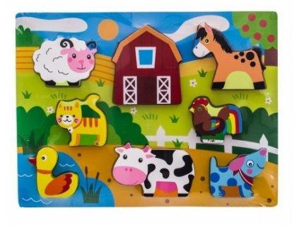 80355 127064 drevene zabavne puzzle vkladaci euro baby zviratka na farme