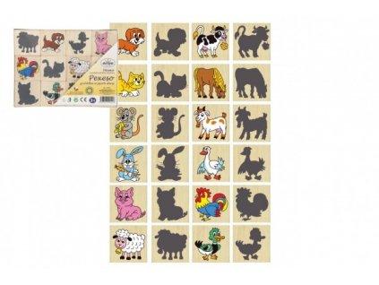 111074 189003 pexeso zviratka a jejich stiny drevo spolecenska hra 12ks v krabicce 16 5x12 5x1 5cm
