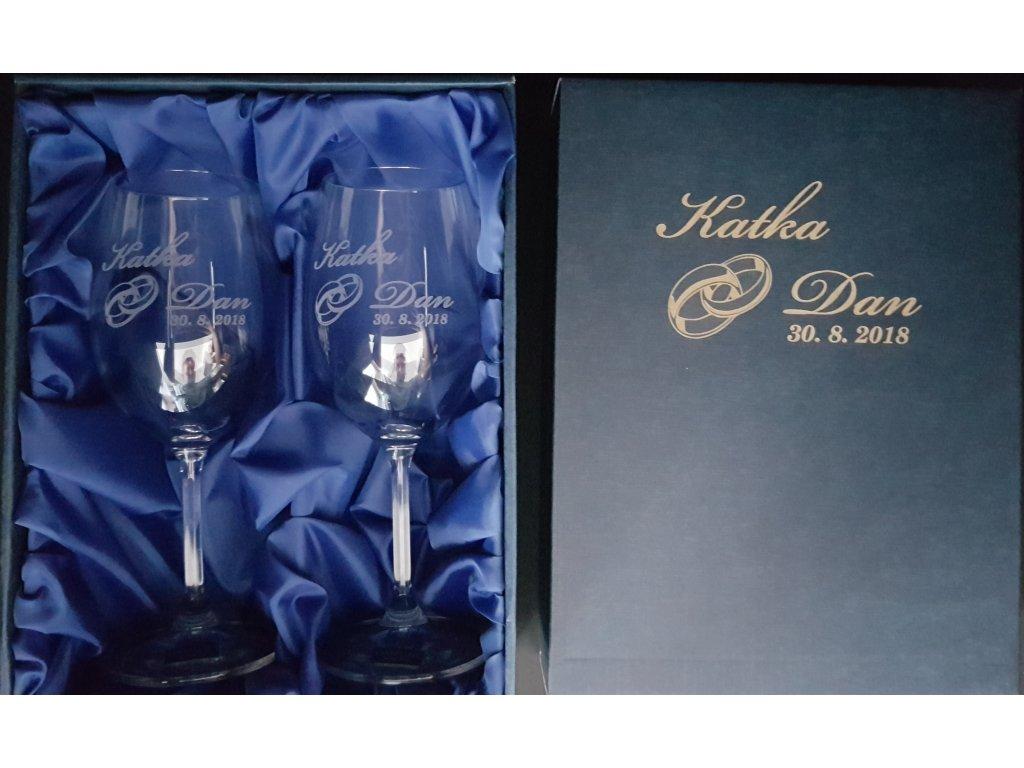 Svatební sklenice - vinné s dárkovou krabičkou