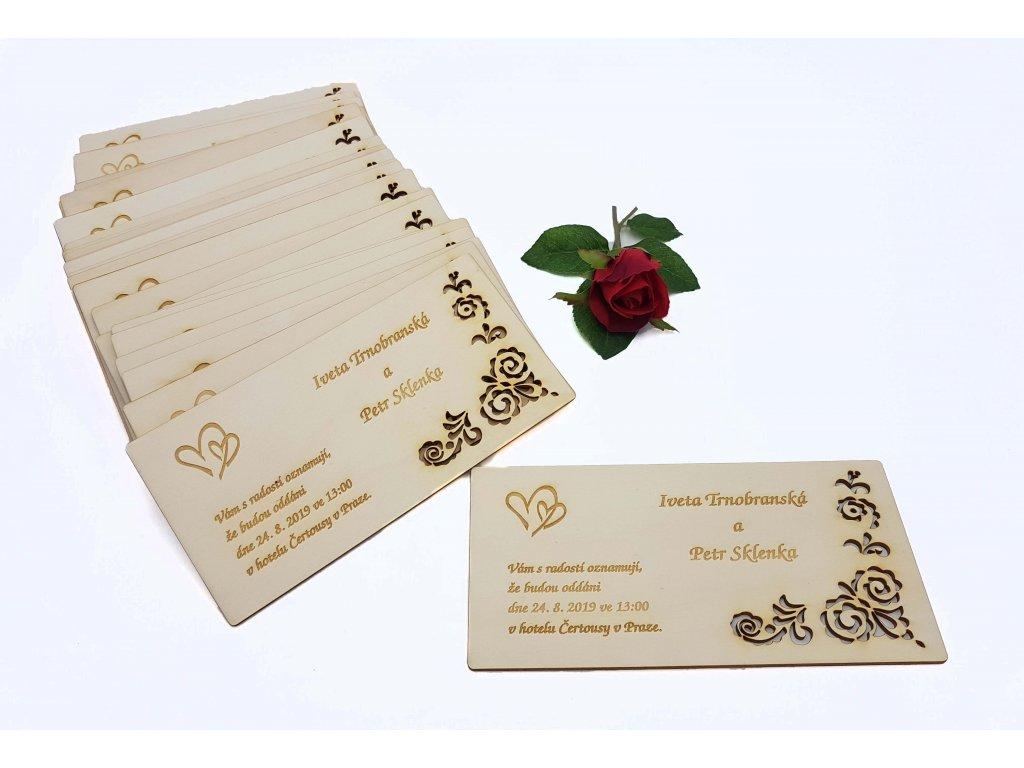Svatební oznámení dřevené