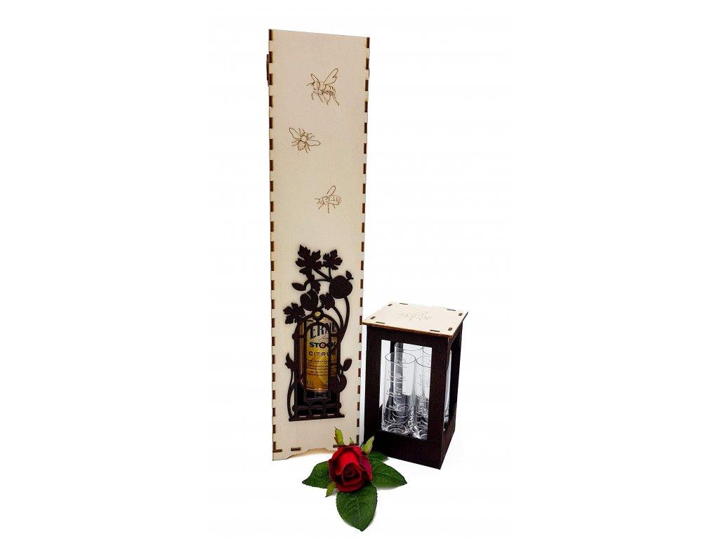 dřevěný whiskey BOX se skleničkami