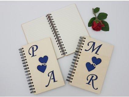 Svatební zápisník A5 - Dvojsrdíčko-modrý