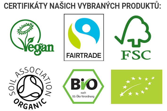 Certifikáty Green Heads | Vegan | Bio | Fairtrade | FSC | Soil Association Organic