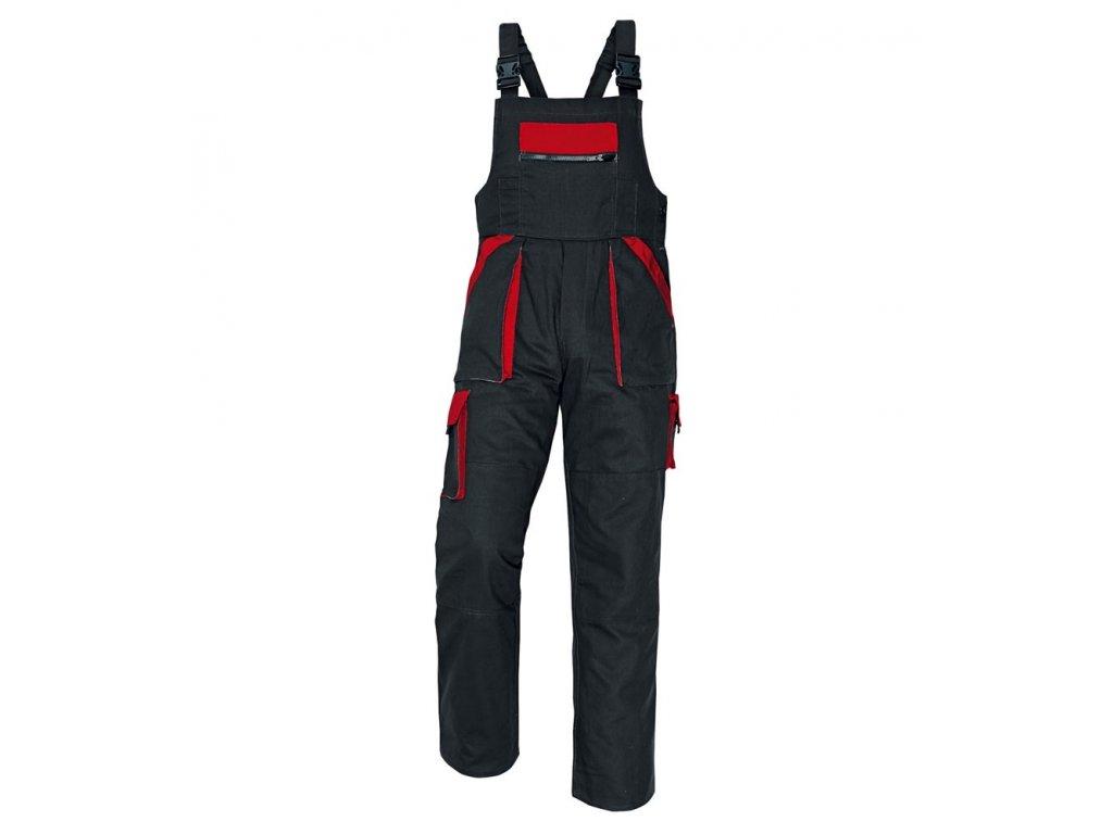 0006475 cerva max pracovni kalhoty s laclem cerno cervena