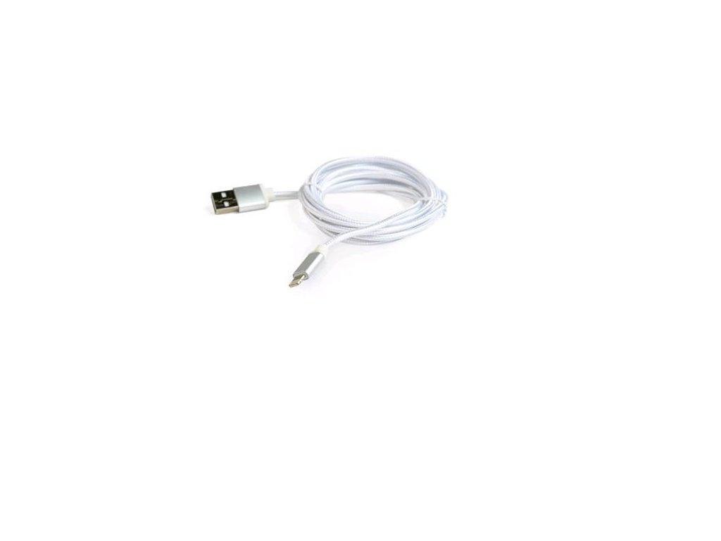 Kabel CABLEXPERT USB 2.0 Lightning (IP5 a vyšší) nabíjecí a synchronizační kabel, opletený, 1,8m, stříbrný, blister
