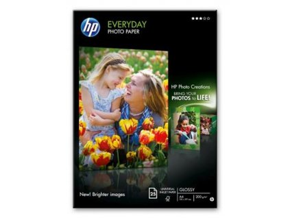 HP Lesklý fotografický papír Everyday, A4, 25 listů, 200 g/m2