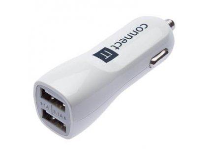 Connect IT InCarz Premium nabíječka do auta 2xUSB 3.1A+1A, Bílá CI-708