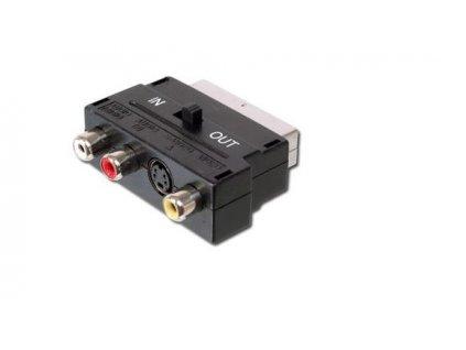 Adapter SCART-3x cinch + S-video s přepínačem IN/OUT