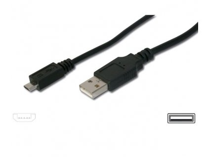 Kabel micro USB 2.0, A-B 0,75m kabel navržený pro rychlé nabíjení