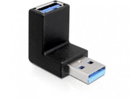DeLock adaptér USB 3.0 samec - USB 3.0 samice pod úhelem 90° vertikálně