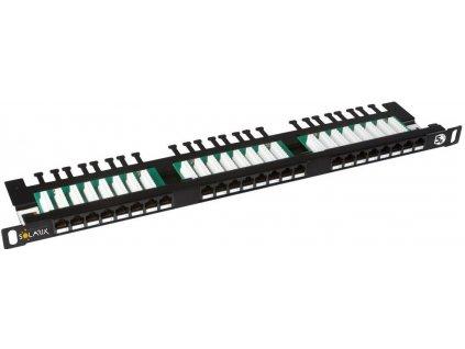 SOLARIX patch panel, CAT5E, 24 x  RJ45, UTP, s vyvazovací lištou, černý, 0,5U