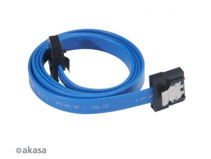 AKASA kabel SATA 3.0, super tenký, se skrytým zámkem, 30cm, modrý