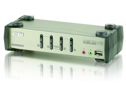 Aten 4-port KVMP USB+PS/2, usb hub, audio, OSD, 1.2m kabely