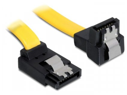 Delock kabel HDD SATA 20 cm pravoúhlý nahoru/dolů, žlutý (82819)