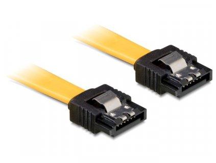 Delock Kabel SATA III 20 cm, přímý/přímý, žlutý, kovová západka (82808)