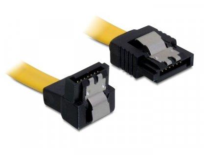 Delock Kabel SATA III 70 cm, přímý/dolů, žlutý, kovová západka (82814)