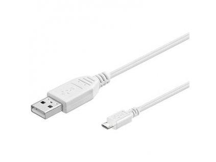 Kabel micro USB 2.0, A-B 20cm, bílá