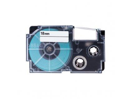PRINTLINE kompatibilní páska s Casio XR-18WE1 18mm, 8m, černý tisk/bílý podklad