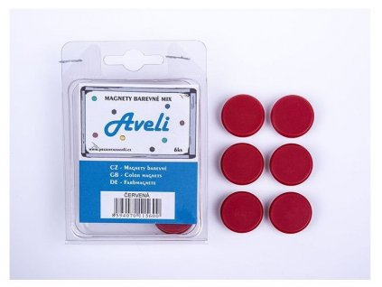 Aveli set magnetů, 4ks, červená barva