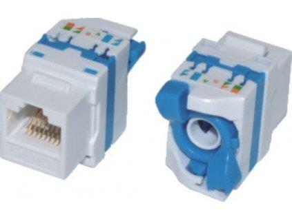 EuroLan samozařezávací keystone UTP Cat.5e, bílý, zadní svorkovnice, zámek