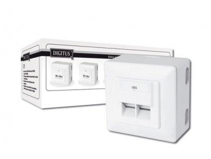 Digitus modulární dvojzásuvka CAT6, stíněná, na omítku,LSA, bílá, 5ks