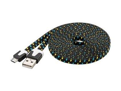 Kabel micro USB 2.0, A-B 2m, plochý PVC kabel, černo-modro-žlutý