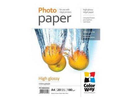 ColorWay fotopapír/ high glossy 180g/m2, A4/ 20 ks