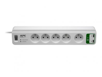 APC Essential SurgeArrest 5 outlets with 5V, 2.4A 2 port USB Charger 230V France - přepěťová ochrana 5 zásuvek 1,8m