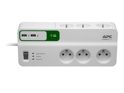 APC Essential SurgeArrest 6 outlets with 5V, 2.4A 2 port USB charger, 230V France - přepěťová ochrana 6 zásuvek 1,8m