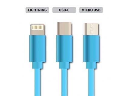 Kabel Geti GCU 03 USB 3v1 modrý samonavíjecí