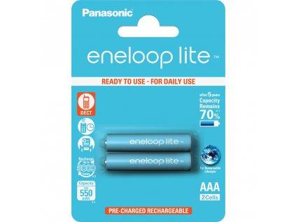 Panasonic 4LCCE/2BE Eneloop Lite AAA 550 2BP modré
