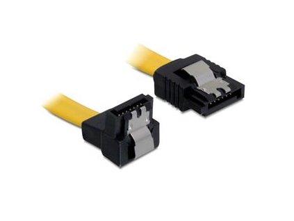 DeLock Kabel SATA III 30 cm, přímý / dolů, žlutý, kovová západka