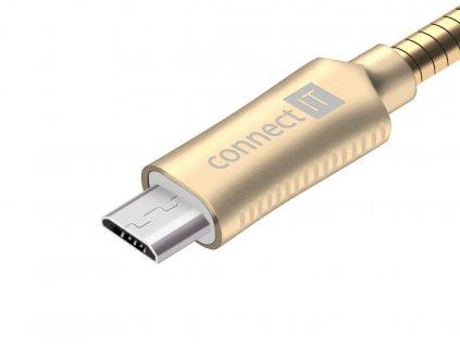 Connect IT Wirez Steel Knight MicroUSB - USB kabel, zlatý, 1 m
