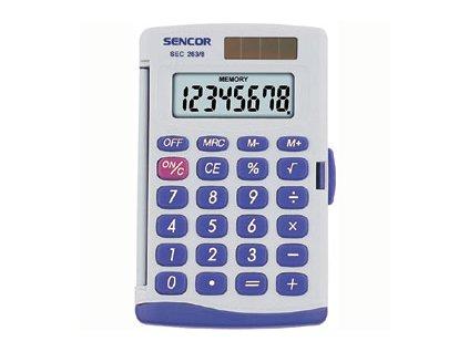 Sencor Kapesní kalkulačka SEC 263/8, přehledný 8mi místný displej, solár/bat..